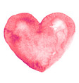 watercolor hand-painting pink heart shape on white vector image vector image