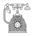 vintage phone with floral ornament vector image