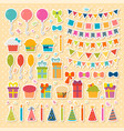 set of birthday party design elements stickers vector image