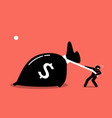 a man is struggling to pull a big bag of money vector image vector image