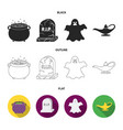 a witch cauldron a tombstone a ghost a gin lamp vector image