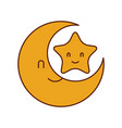 baby shower moon and star cartoon decoration vector image