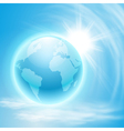 Background with globe and sun vector image vector image