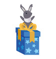 bunny gift box happy easter vector image vector image