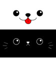 cat dog eyes nose moustaches tongue cute cartoon vector image vector image