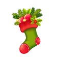 Christmas realistic stocking full of presents vector image vector image