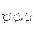coffee stain rings isolated on white background vector image