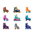 colorful rollers on shoes set active fun fitness vector image