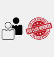contour users icon and distress for club vector image vector image