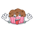 crazy chocolate muffins on a mascot plate vector image vector image