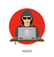 cyber crime with hacker avatar vector image vector image