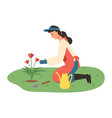 farming woman in garden with flowers and tools vector image vector image