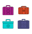first aid kit icon set color outline style vector image