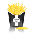 french fries with pack on white background mock vector image