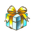 gift box closed and decorated bow color vector image vector image