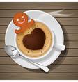 ginger bread soak in cup of hot cappuccino vector image vector image