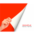 hand with red background vector image vector image