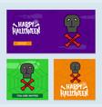 happy halloween invitation design with skull vector image