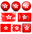 Hong Kong flag on many objects vector image vector image
