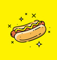 hot dog line icon vector image vector image