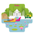 india travel and attraction landmarks vector image vector image