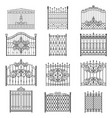 iron gate line art set vector image vector image