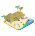 isometric summer beach vacation concept vector image vector image