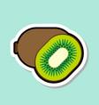 kiwi sticker on blue background colorful fruit vector image