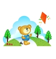 Little bear playing kites at the park vector image