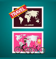 man and woman on bicycles with world map on vector image vector image