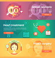 medical and health banners set sexology heart vector image vector image