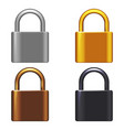 metal lock 3d realistic security safeguard vector image