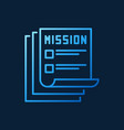 mission documents blue outline icon vector image vector image