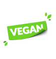 modern green vagan sticker web label with leafs vector image vector image
