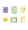 notebook icon set cartoon style vector image vector image