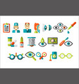 ophthalmology set treatment and correction of vector image vector image