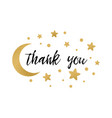 phrase thank you decorated gold stars and vector image