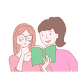 pretty girl wearing eyeglasses reading book with vector image