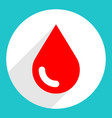 red blood drop sign circle icon vector image