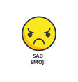 sad emoji line icon sign on vector image vector image