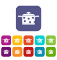 saucepan with white dots icons set vector image vector image
