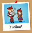 Scotland travel polaroid people vector image