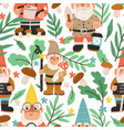 seamless pattern with funny and cute gnomes vector image vector image