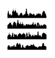 set different city silhouettes on white vector image