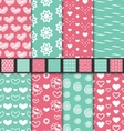 set seamless valentine day textile patterns vector image vector image
