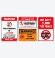set trespassing prohibition sign vector image