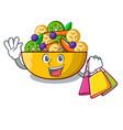 shopping cartoon bowl healthy fresh fruit salad vector image