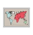silhouette with frame map of the world vector image vector image
