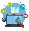 social media and network communication design vector image vector image