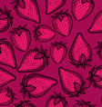 Strawberry seamless pattern background vector image vector image